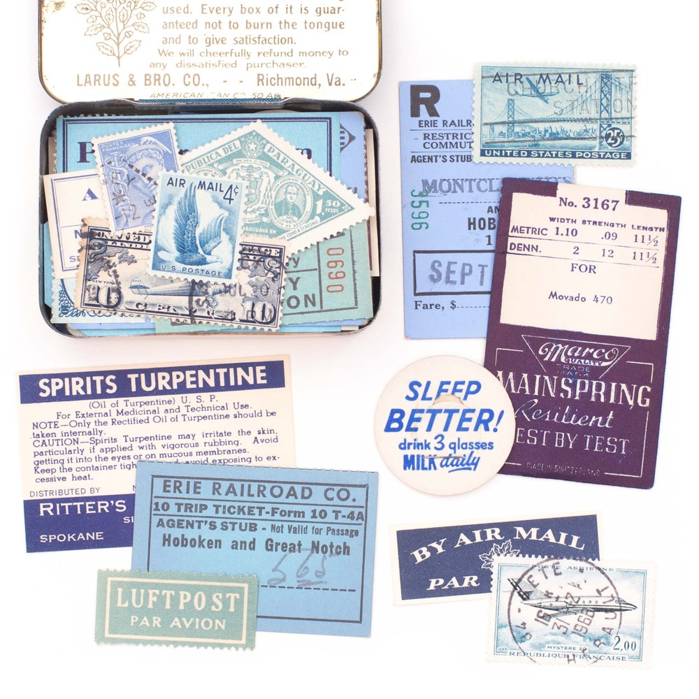 Image of Blue Edgeworth Tin with Ephemera