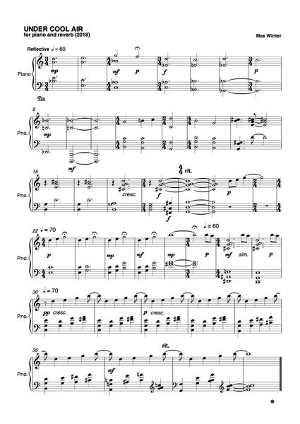 Image of Under Cool Air - For Solo Piano and FX