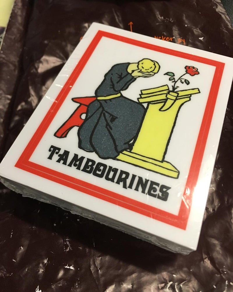 """Image of TAMBOURINES """"Woe Is Me"""" Sticker"""