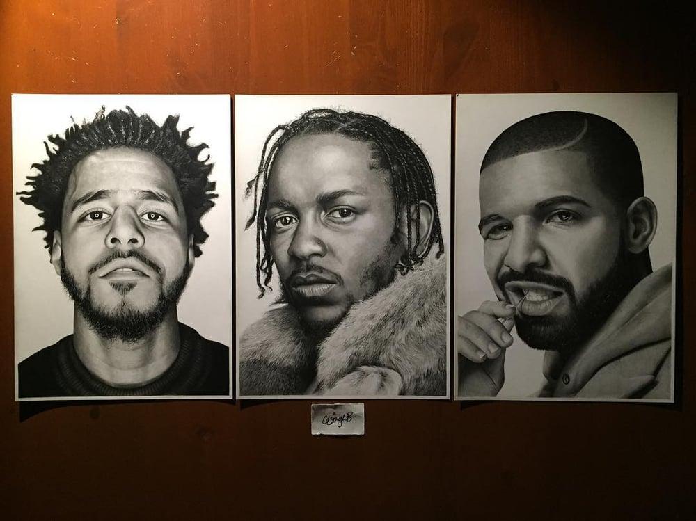 Image of Present Day Poets (J. Cole, Kendrick Lamar & Drake Prints)