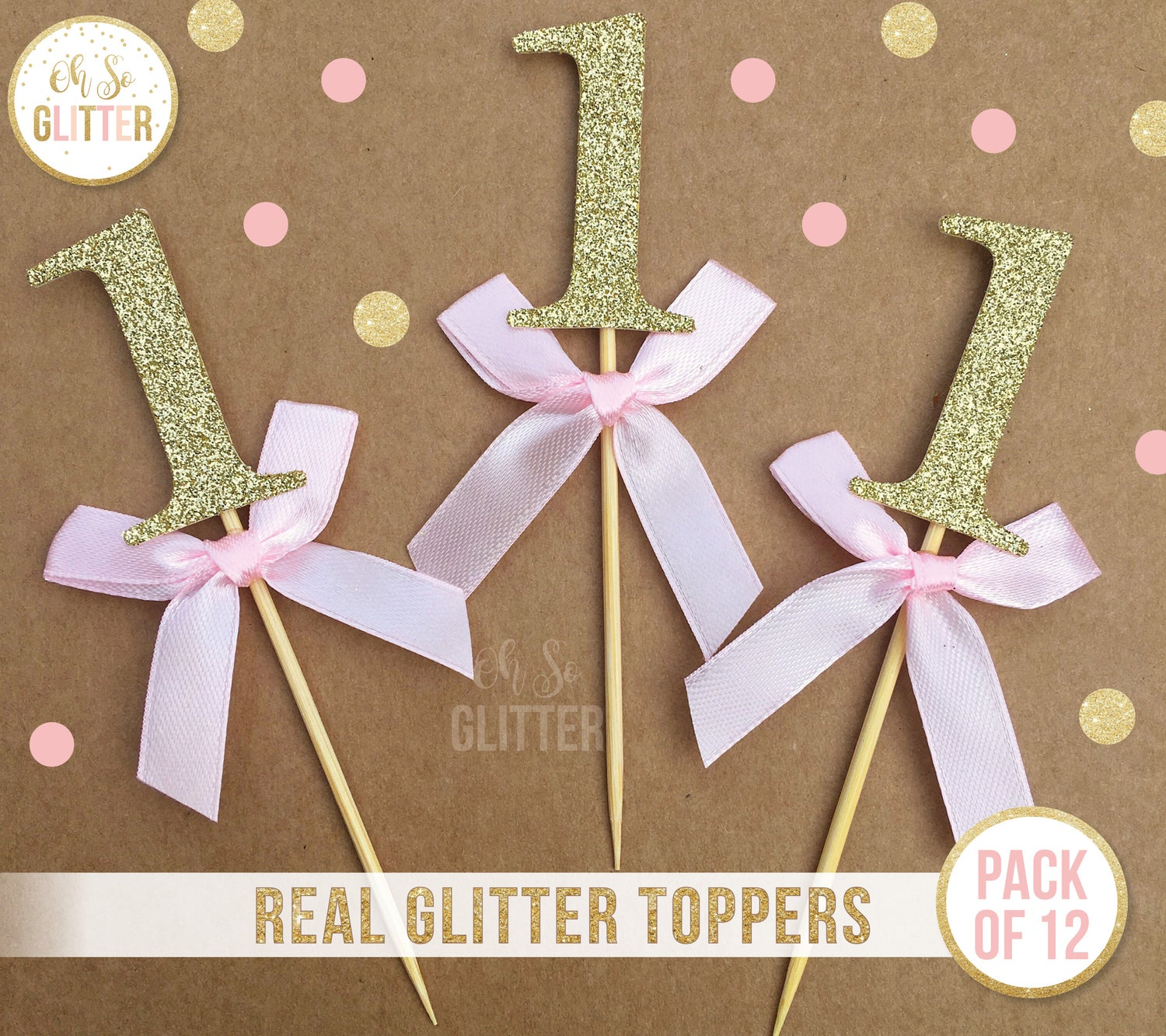 Image of Number 1 cupcake toppers