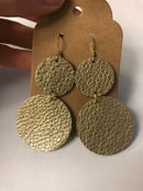 Image of Leather Earrings - Double Gold Dots
