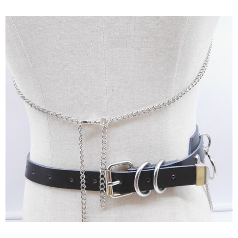Leather O Ring chain Belt