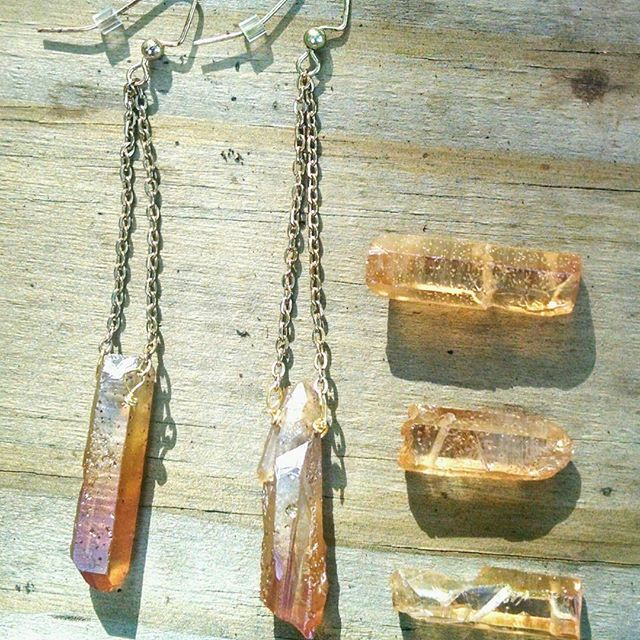 Image of Ice&Fire Raw Quartz Earrings
