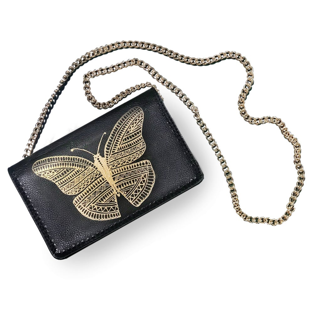 Image of Butterfly - HAND PAINTED - Curb Chain Crossbody Bag