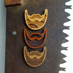 Image of Engraved Wood Beard Magnet - Decorative Magnetic Handmade Wood Ornament Decor for the Bearded Gent