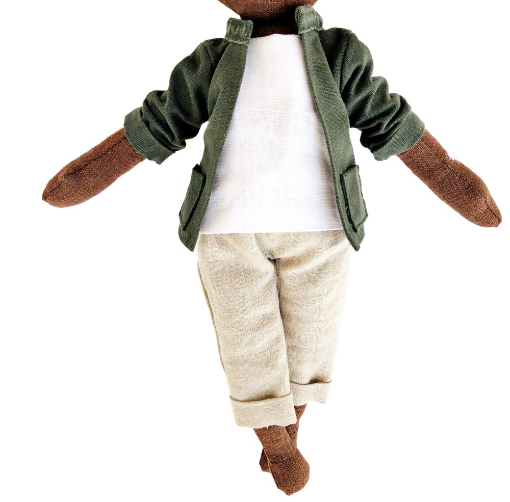 Image of 3pc Green jacket w| khaki crop pant - Doll Accessory