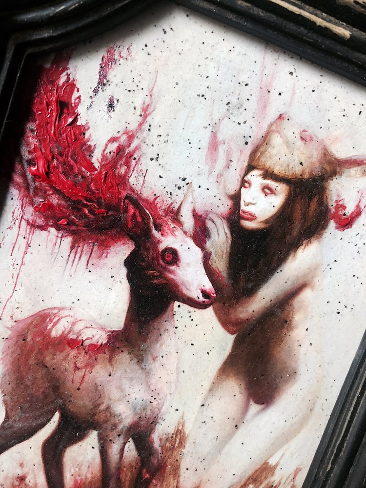 Image of 'ALBINO BUNNY GIRL' [ Unique Print - { 1/1 } ] Hand Embellished Museum Archival Print