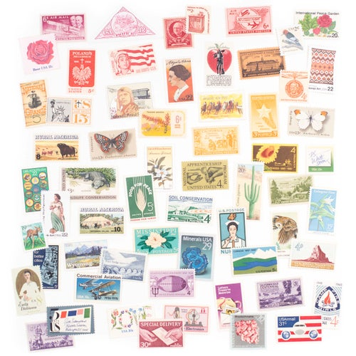 Image of Vintage Unused Postage Stamp Collection in Tin