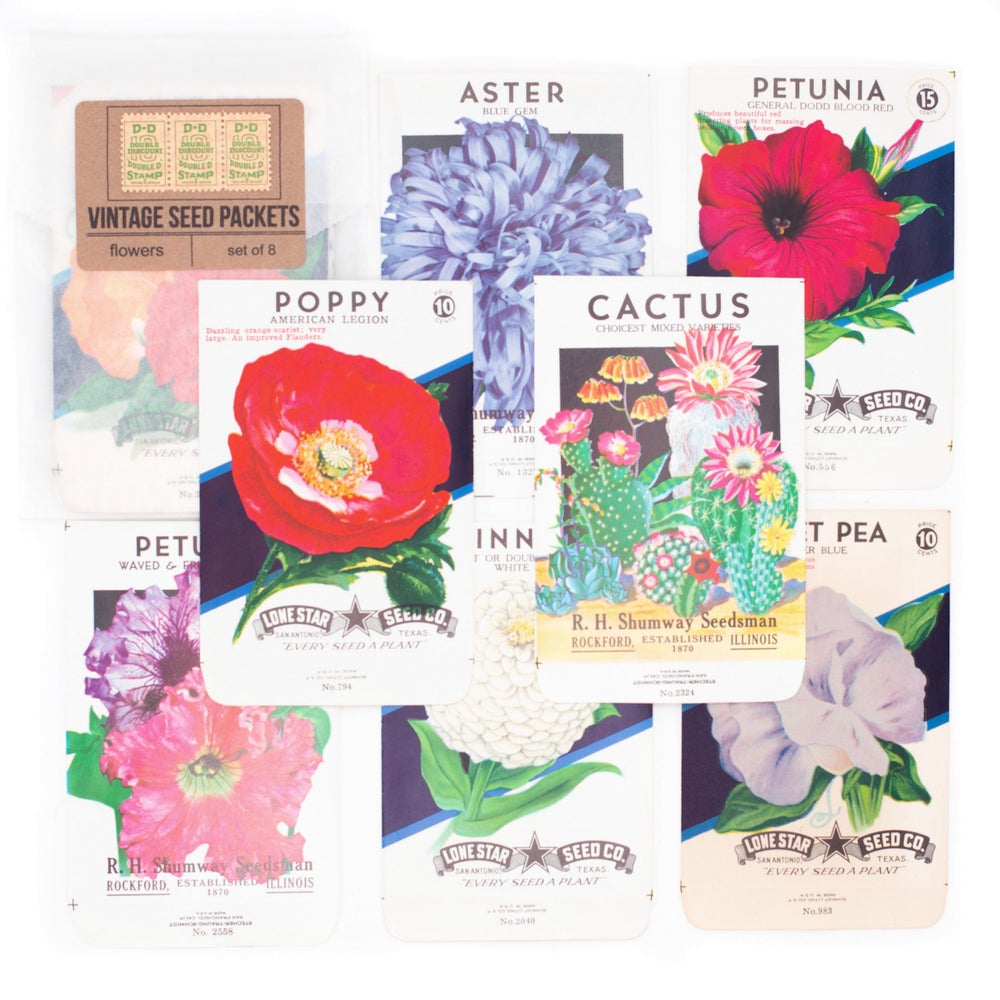 Image of Vintage Flower Seed Packets, No. 2 - Set of 8