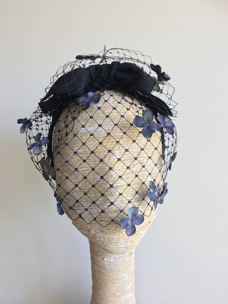 Image of Navy veil and ribbon headpiece