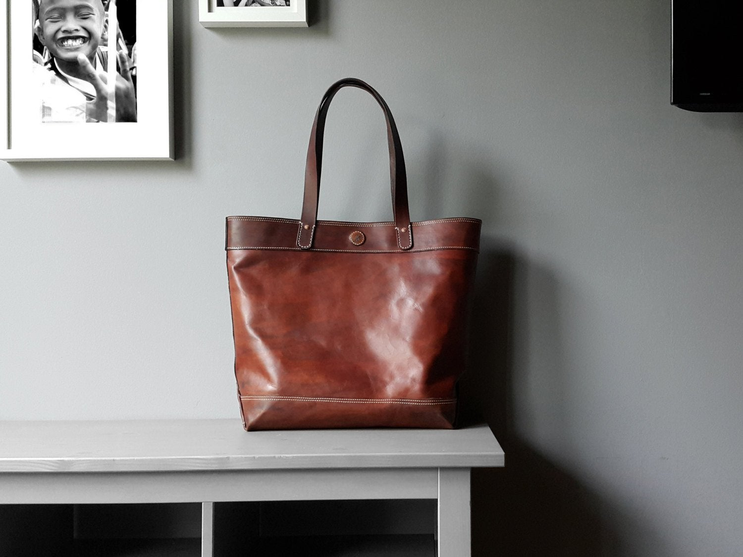 Image Of Large Leather Tote Bag Dark Brown Color Work Carry All