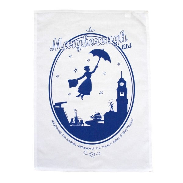Image of Maryborough Qld. Mary Poppins Themed Souvenir Cotton Tea Towel