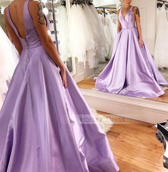Image of Elegant Lilac Satin V-Neck A-Line Long Prom Dresses, Lavender Satin Evening Gown With V Back