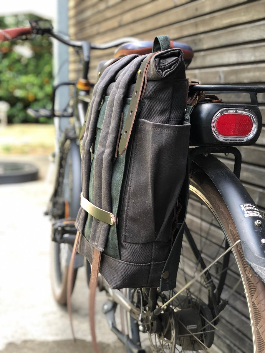 Image of Convertible backpack into bike pannier / bicycle bag in waxed canvas / bike accessories