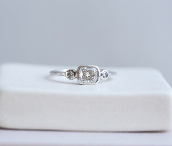 Image of Lena: Reverie Ring w. cushion-cut white diamond (18k white gold)