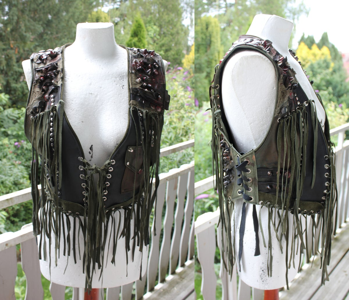 Image of GUERILLA STUDDED FRINGED PENTAGRAM VEST