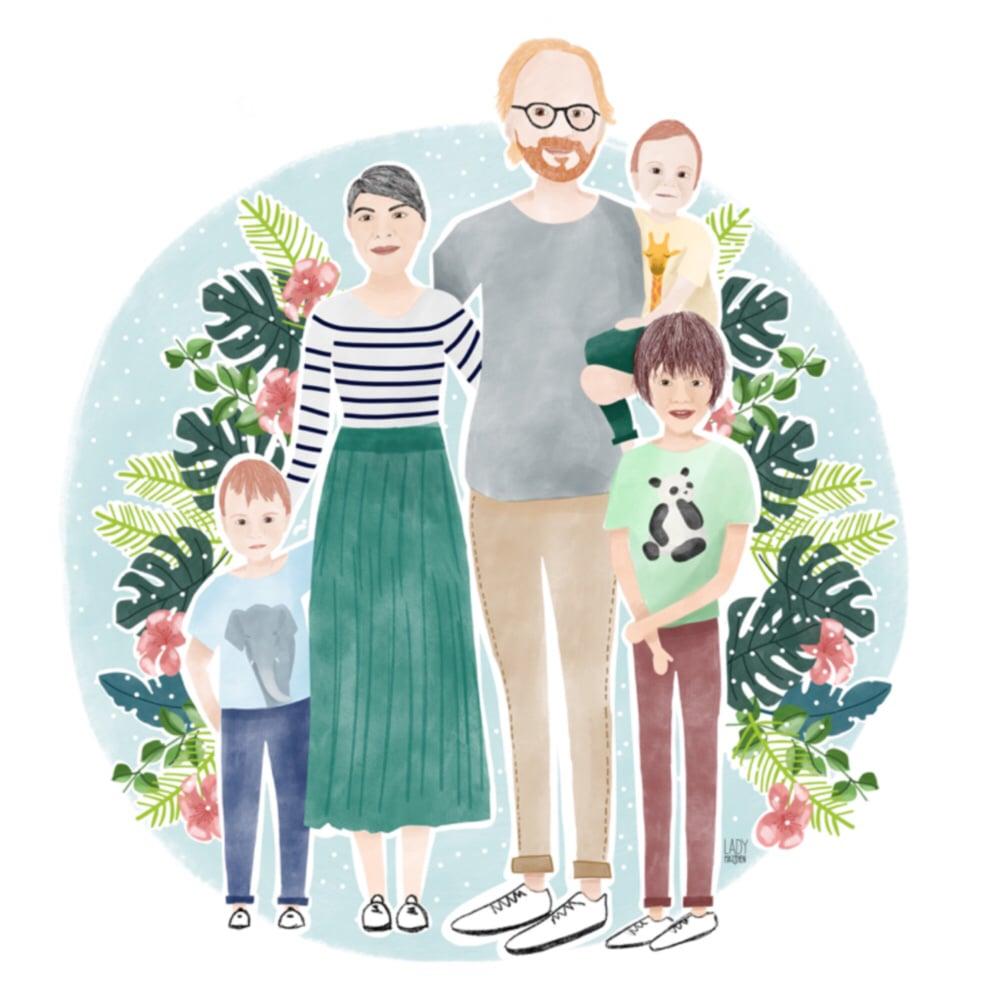 Image of Ilustración digital 5 PERSONAS / Illustrated portrait 5 PERSONS