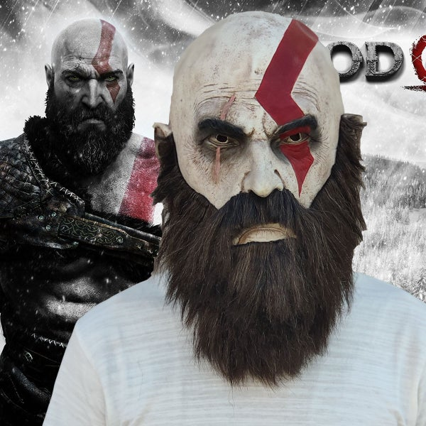 Image of God of War Kratos Cosplay Full Head Face Mask Gaming Horror Halloween Mask