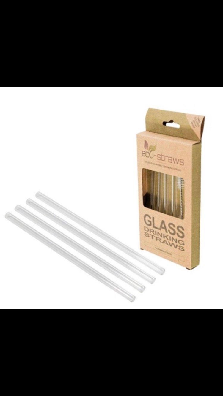 Image of Glassugerør korte i glas, pakke med 4 stk og børste