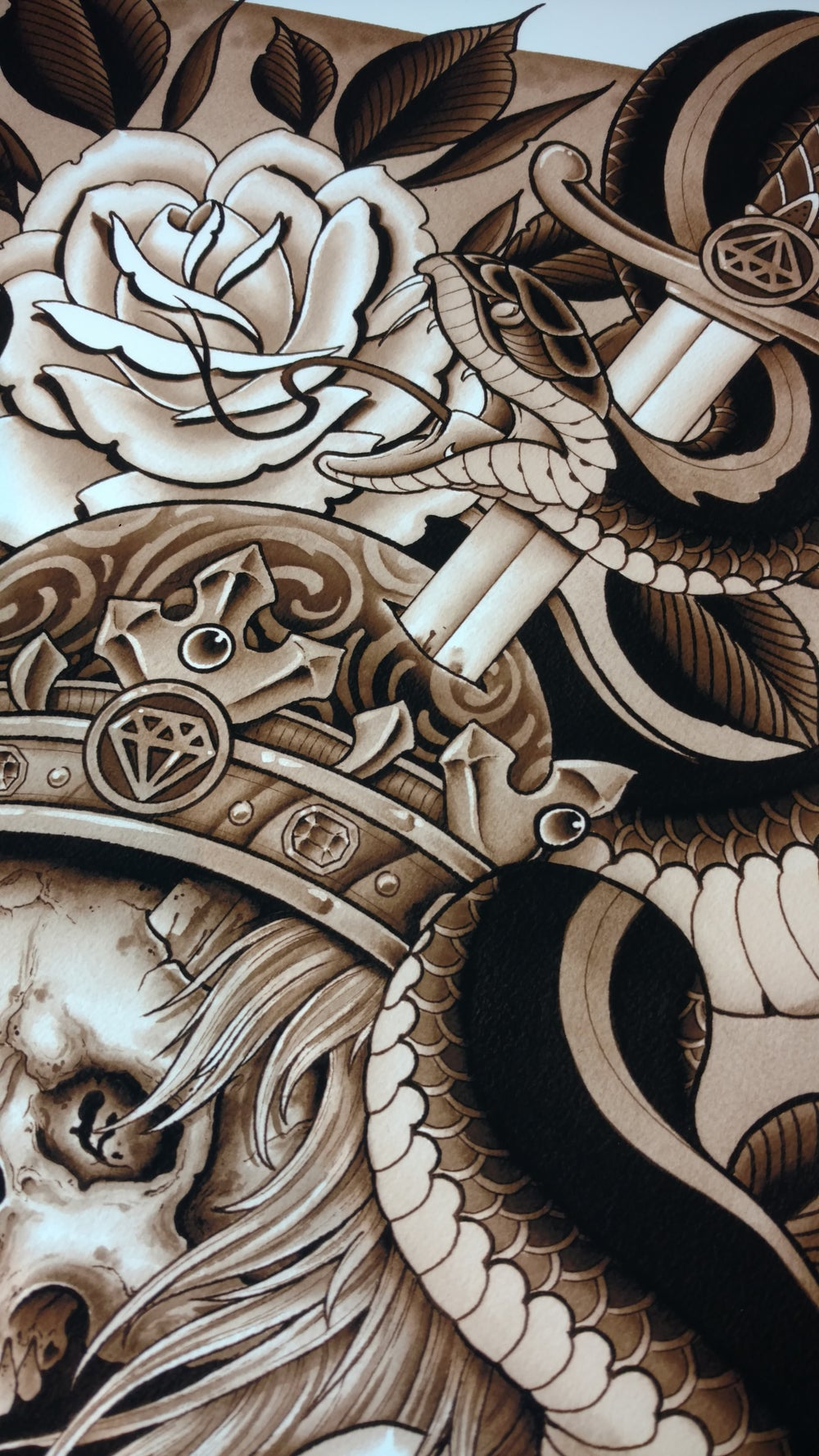 Image of Snake & Skull (Sepia Print)