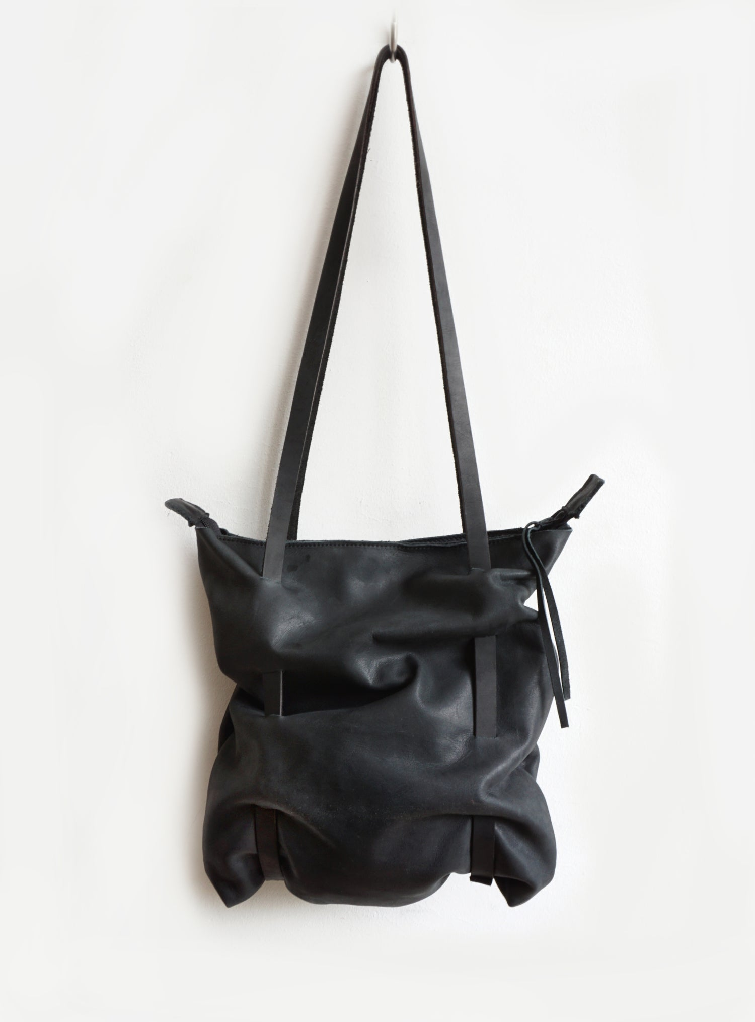 Image of Top Zipperd Black Leather Bag, Eco Leather Crunch Bag