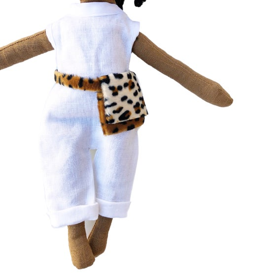 Image of White linen romper w| animal print purse- Doll Accessory