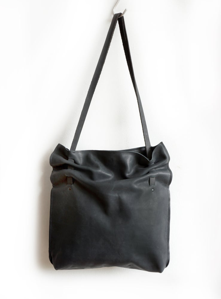 Image of Luxourious Black Leather Pleated Bag, Soft Eco Leather Crunch Bag,
