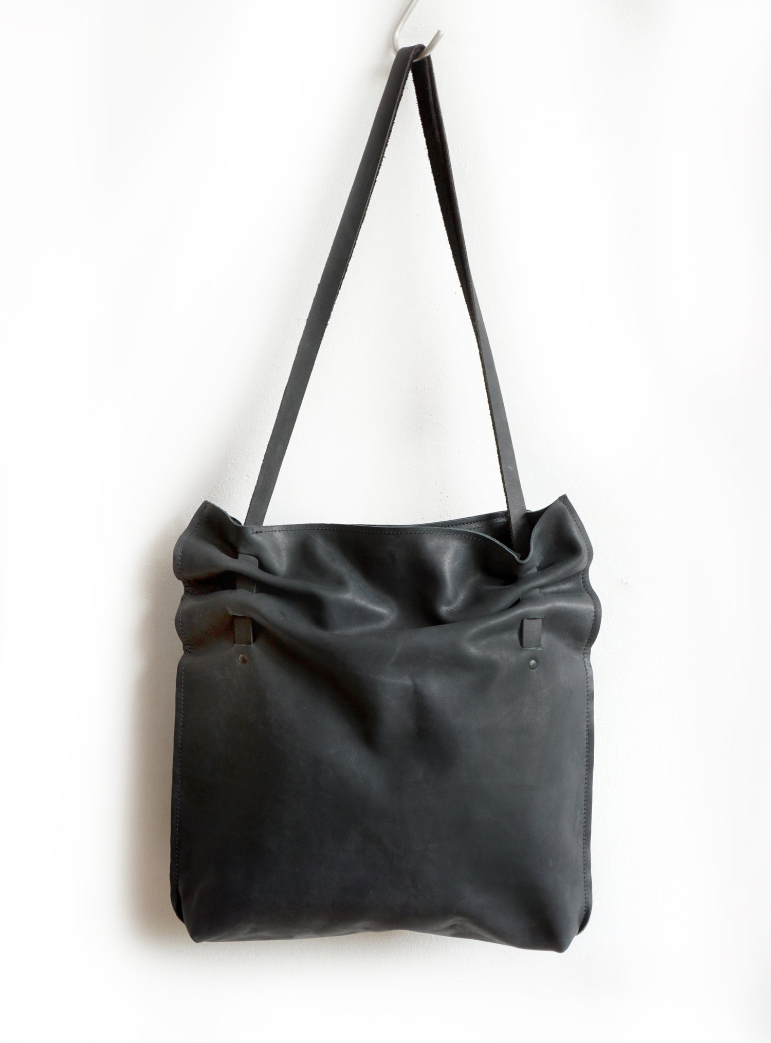 Image of Gathered Tote Bag, Black Leather Pleated Bag, Soft Leather Crunch Bag,