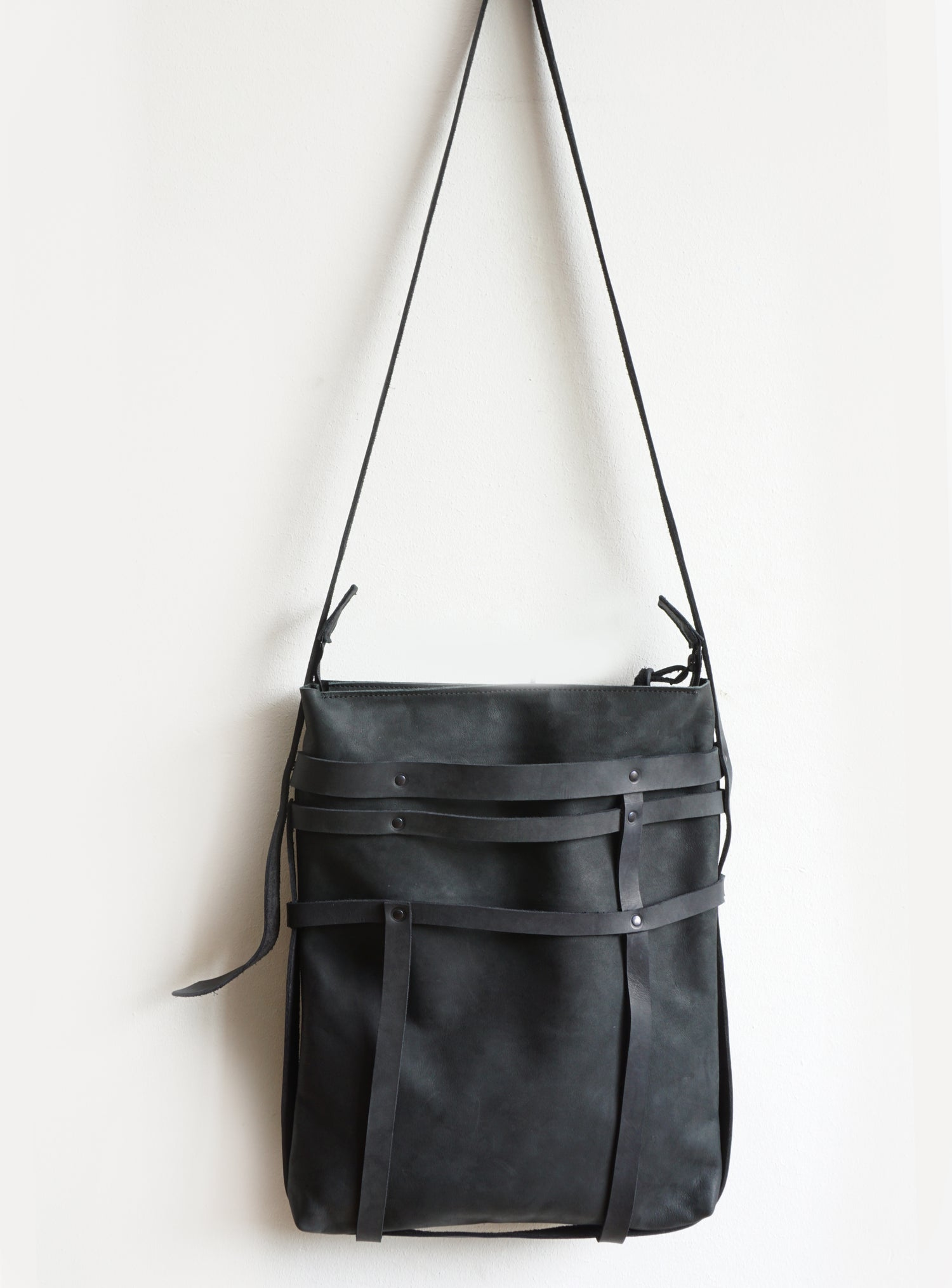 Image of Black Leather Tote Bag Mondriaan, Artisian Leather Cross-Body Bag