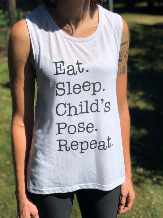 Image of EAT SLEEP REPEAT WOMEN'S WHITE MUSCLE TANK