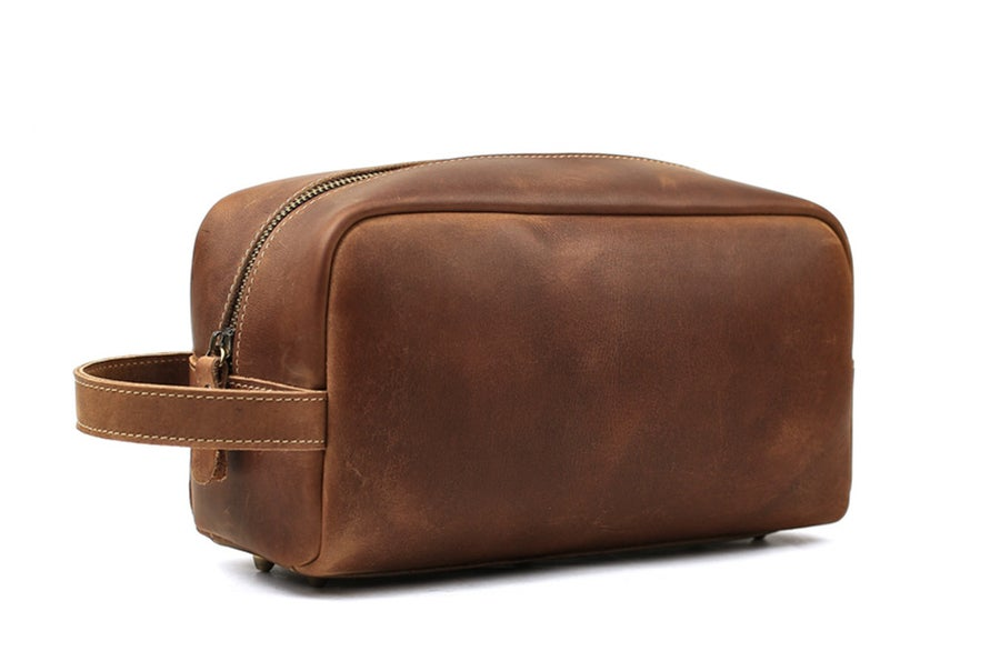 Image of Groomsmen Gift, Groomsman Gift, Personalized Leather Toiletry Bag, Dopp Kit, Best Man Gift 2025
