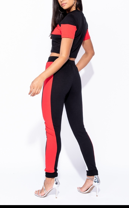 Image of Colour Block crop top & fit lounge set