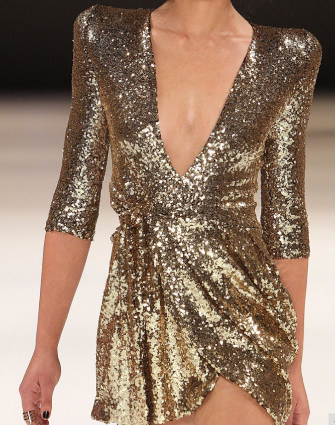 Image of Deep V sexy sequined dress