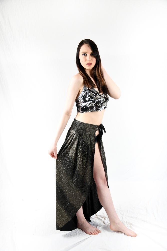 Image of SPARKLE PARTY! Open front maxi skirt