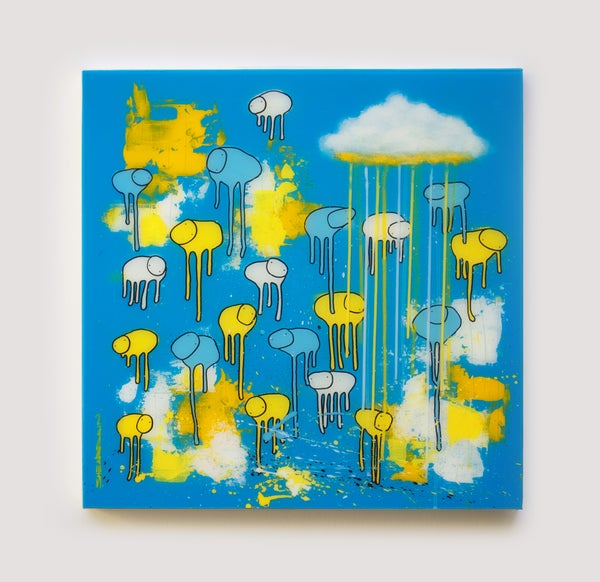 "Image of Raining Cows, ""RAIN OR SHINE (I SEA BLUE)"" 24""X24"""