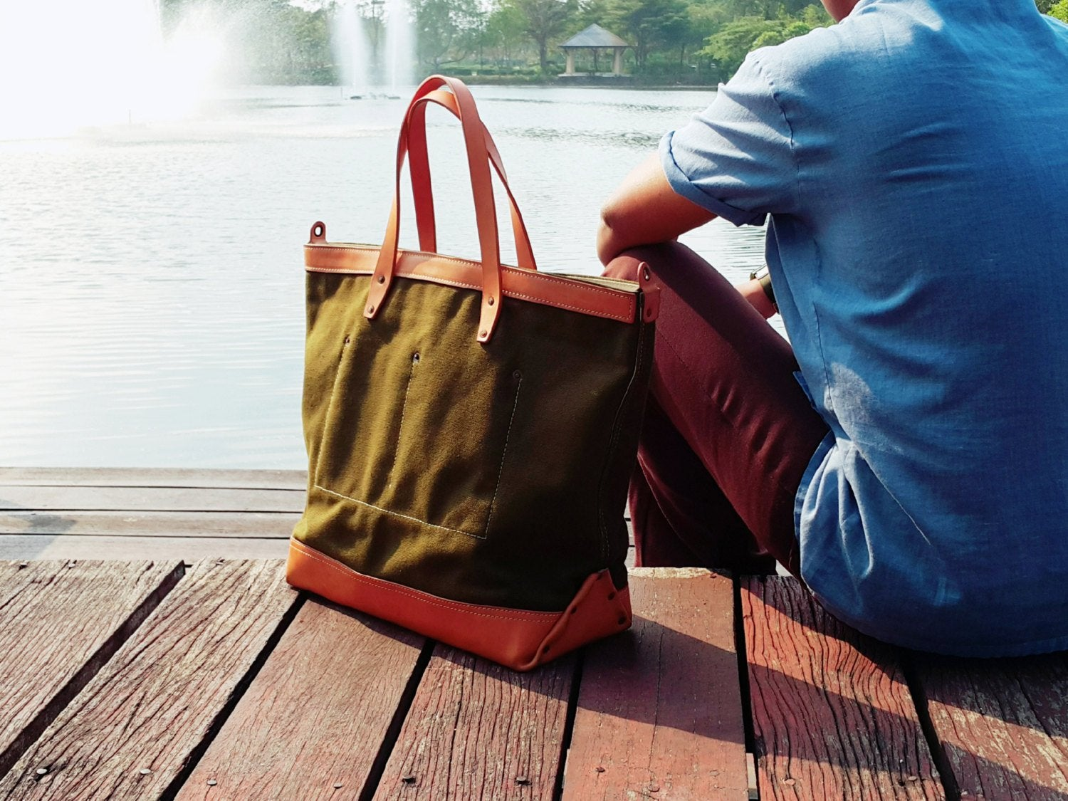Image Of Mens Canvas Leather Tote Bag Work Carry All