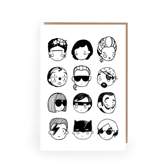 Image of INKY FACES - GREETINGS CARD