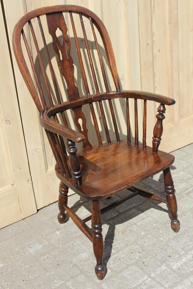 Image of ELM AND ASH HIGH BACK WINDSOR ARMCHAIR