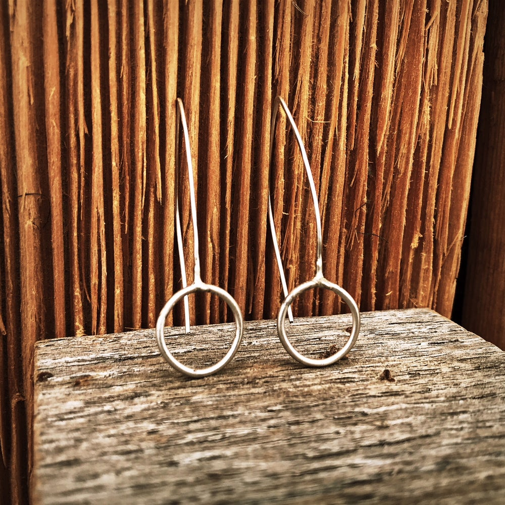 Image of Hand Soldered Fine Silver earrings- medium circles