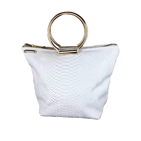 Image of White Snakeskin Embossed Hyacinth Tote Bag