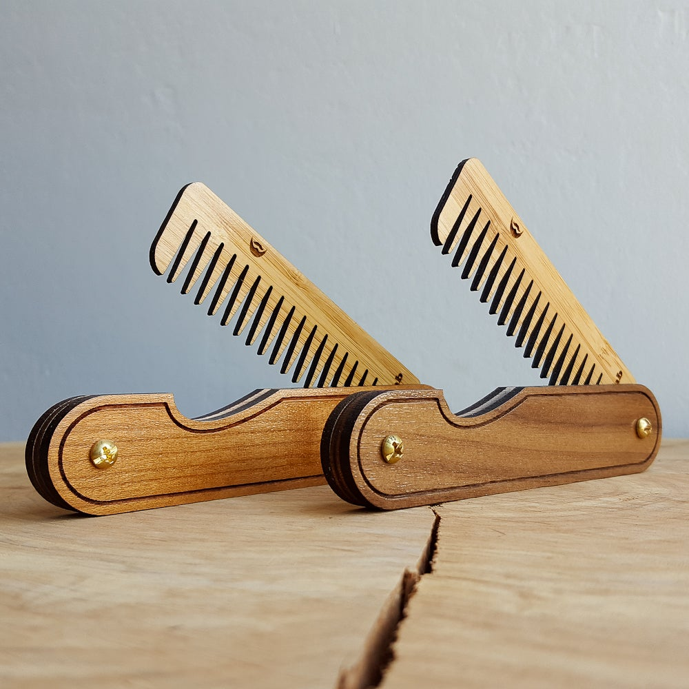 Image of Wood Hair Comb Set - Two Personalized Folding Pocket Grooming Accessories for Men or Women