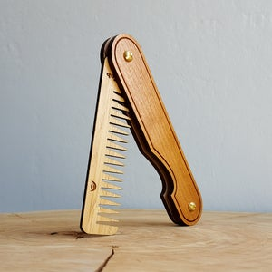Image of Wood Hair Comb - Personalized Folding Pocket Grooming Accessory for Men or Women - Cherry and Bamboo