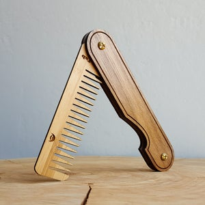 Image of Wood Hair Comb - Personalized Folding Pocket Grooming Accessory for Men or Women - Walnut and Bamboo