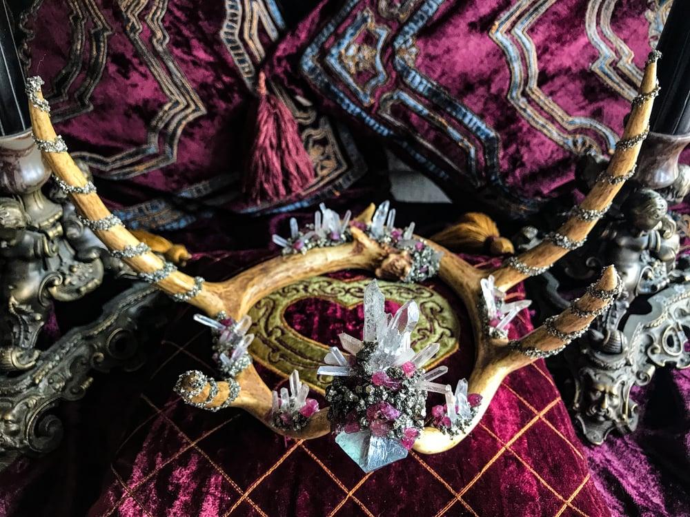 Image of Pink Tourmaline, Flourite Octahedron & Lemurian Quartz - Deer Antler Crown
