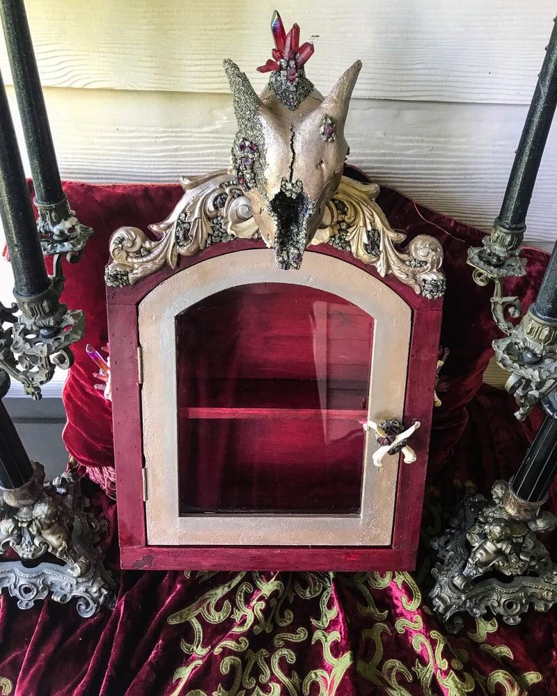 Image of Garnet & Red Aura Quartz - Goat Skull, Glass, Curio Display Cabinet.