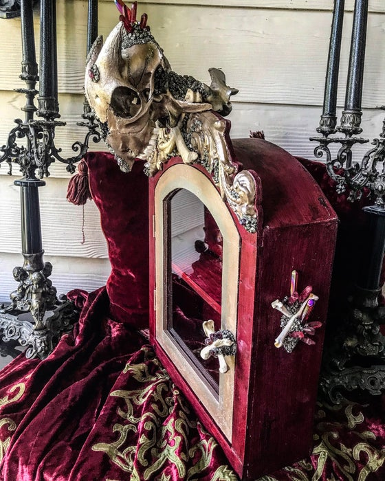 Image of Garnet & Red Aura Quartz - Goat Skull, Glass, Curio Display Cabinet.