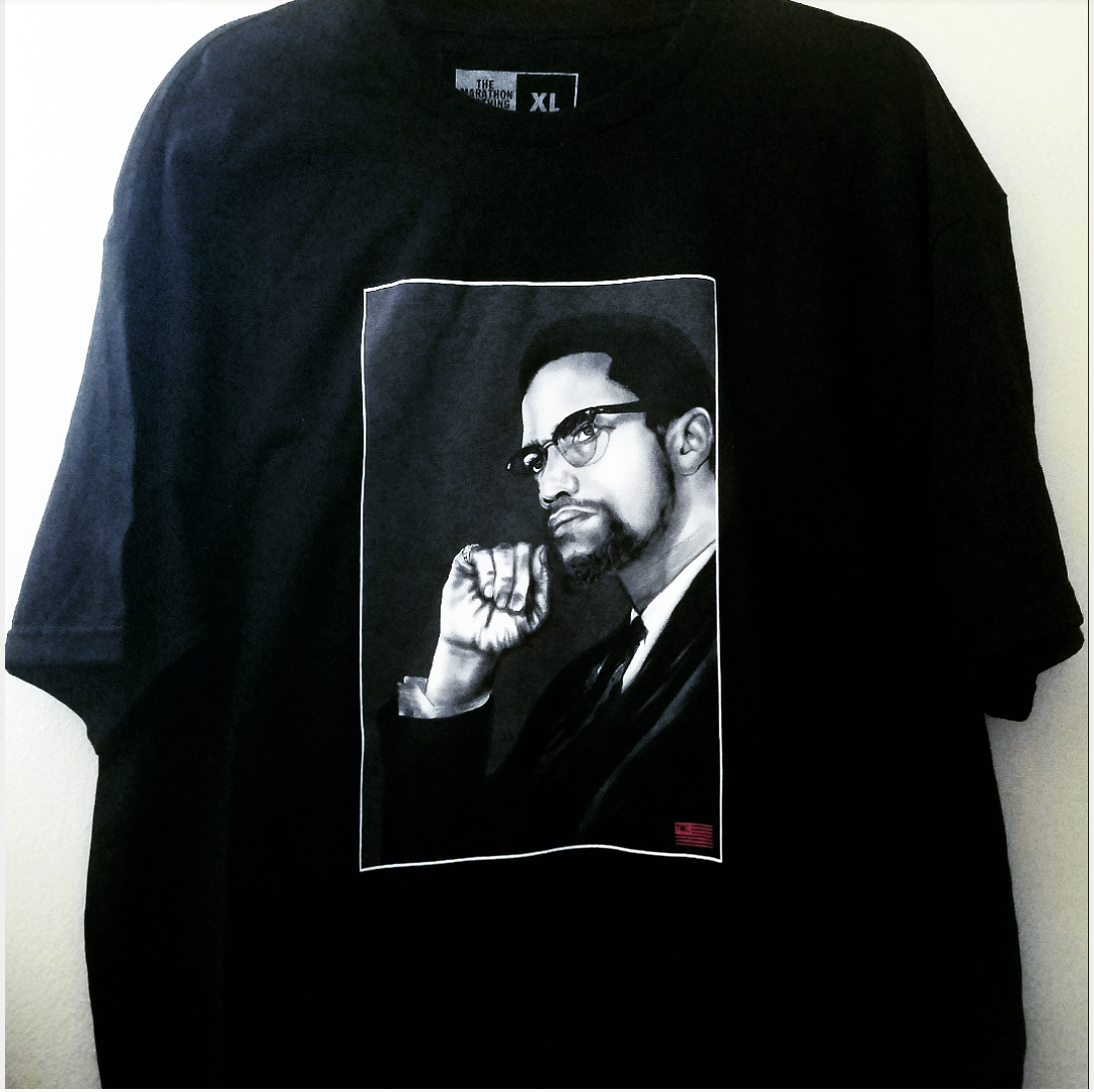 Image of Marathon Clothing By Any Means Malcolm X Shirt - XL