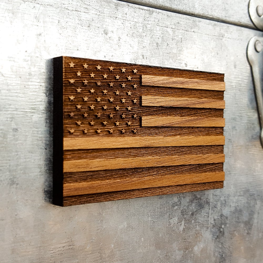 Image of American Flag Wood Magnet - Decorative U.S.A. Magnetic Handmade Engraved Ornament Decor of Old Glory