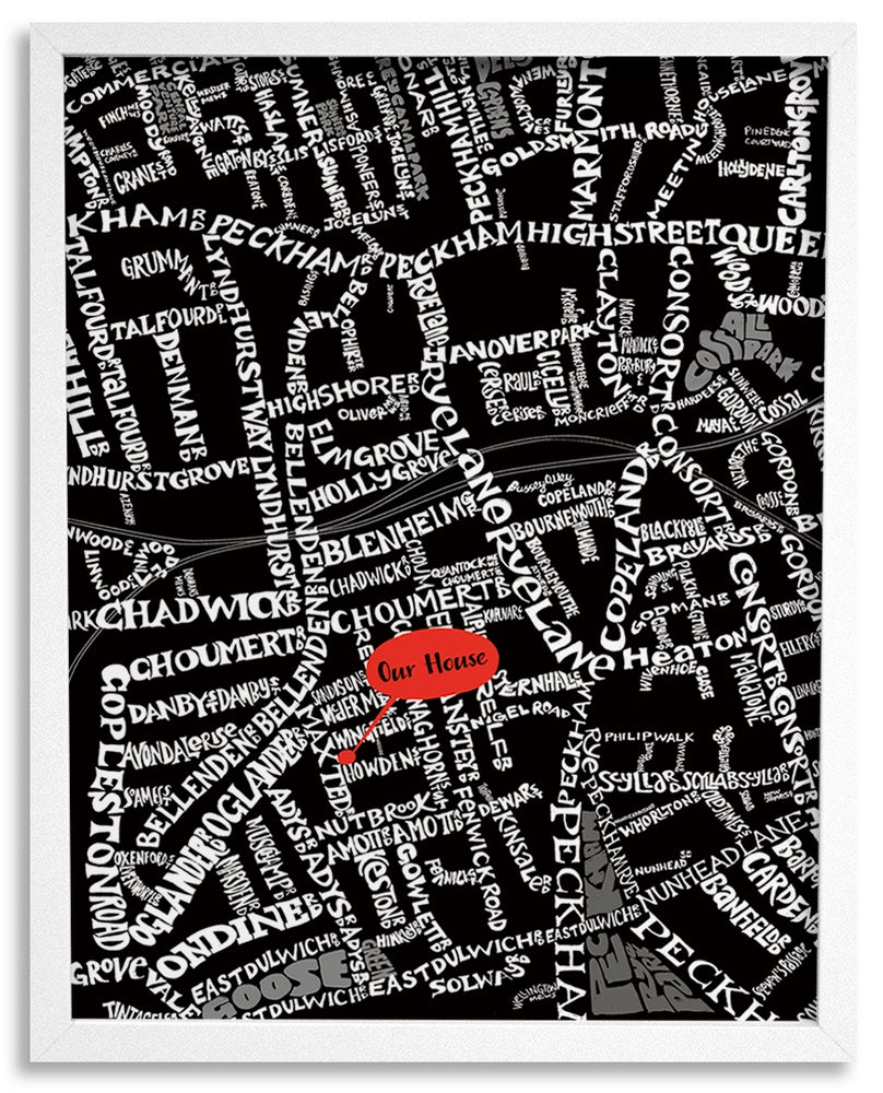 Image of SE15 Peckham & Peckham Rye - London Type Map - White text on black background